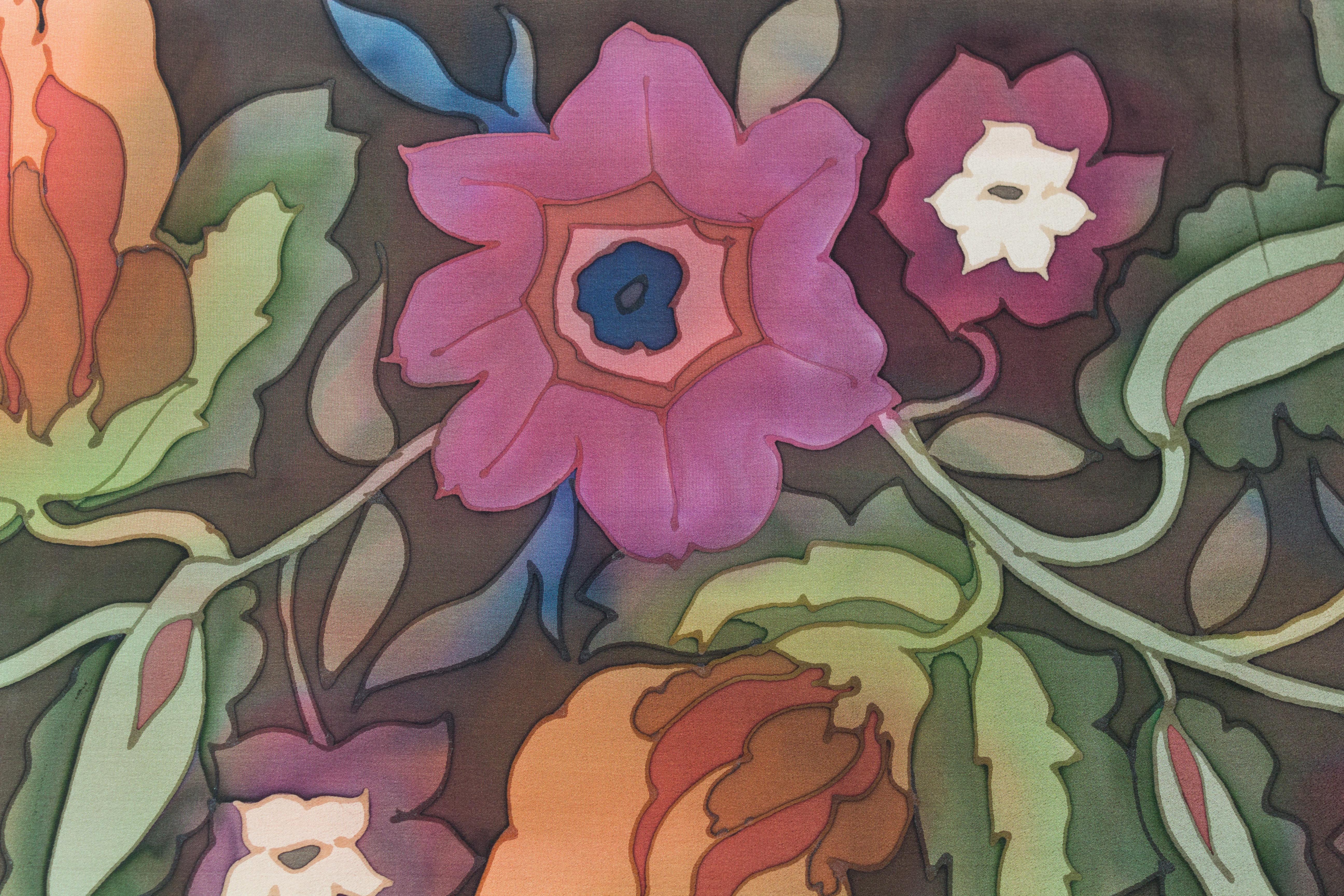 Skov Silk Modern Flowers Collection Plum Green And Pumpkin On A
