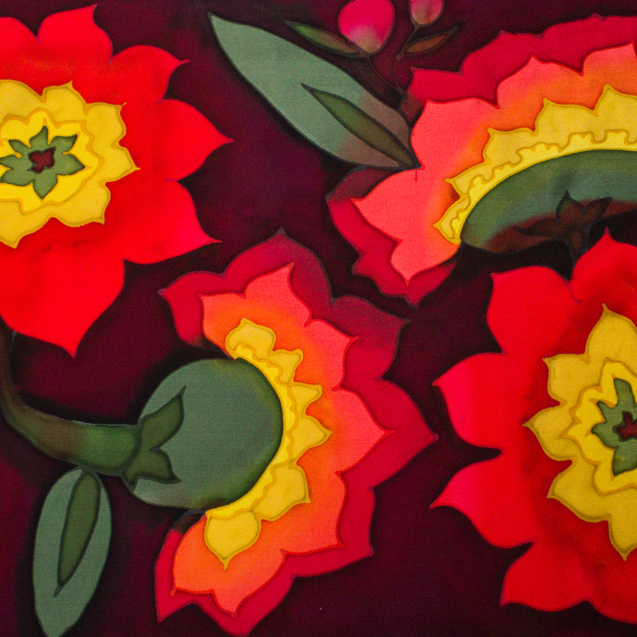 Skov Silk Modern Flowers Collection Red Greenand Yellow On